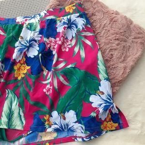 Cacique Hibiscus Tropics Shaping Swim Skirt Plus